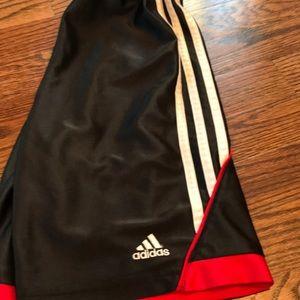 Adidas boys shorts size 7x black/red/white